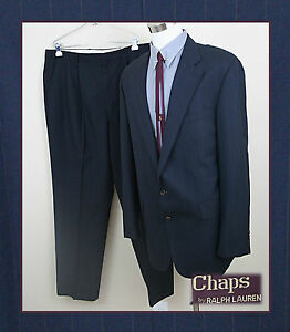 Chaps-46L-X-Mens-Two-Piece-Suit-Black-with-Maroon-Pinstripe