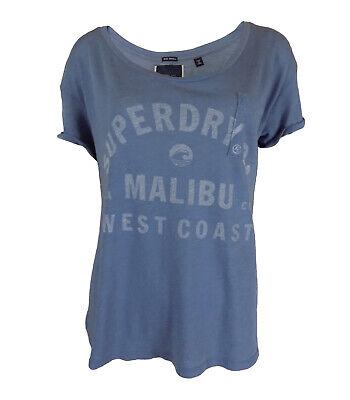 Ladies Designer High Street Logo T-Shirt Top Blue Short Sleeve Comfy Pocket