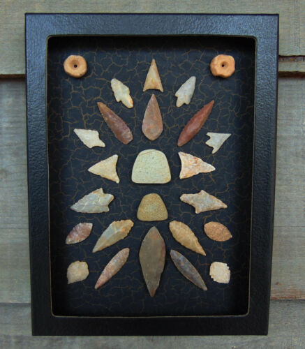 N5) 6X8 Framed Sahara Neolithic Artifacts display arrowhead board old celt beads