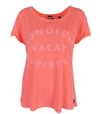 Ladies Designer High Street Logo T-Shirt Top Pink Short Sleeve Comfy Pocket