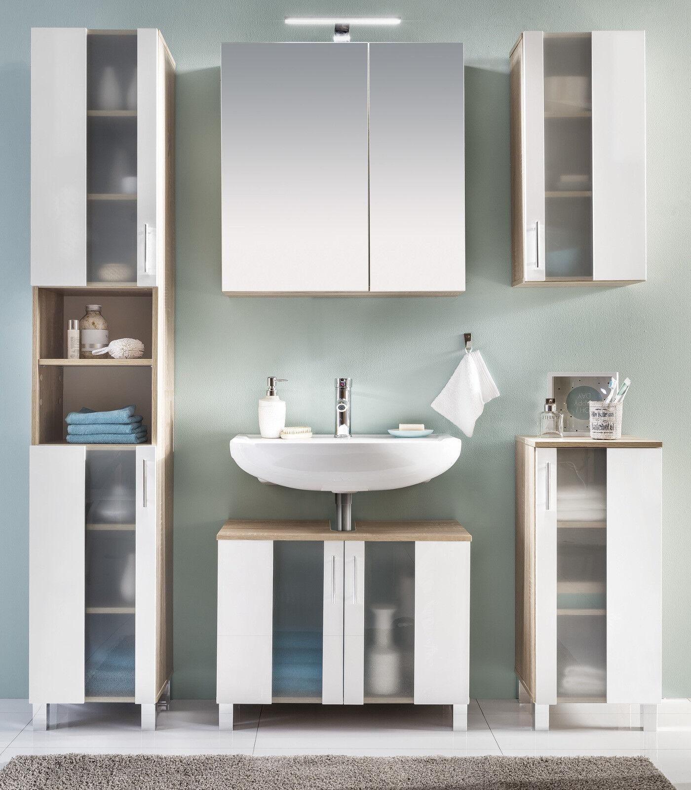 bad hochschrank badschrank in wei eiche badezimmer schrank chrom 190 cm porto eur 112 99. Black Bedroom Furniture Sets. Home Design Ideas
