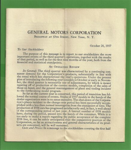 VTG 1937 General Motors Financial Statement 1st UAW Union NOT Annual Report