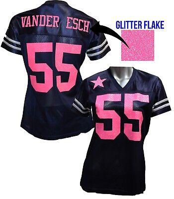 Custom Womens Blinged Football Navy/Pink Jersey, Leighton Vander Esch - Pink Footballs