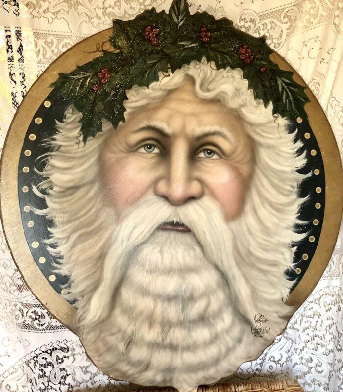 BONNIE BARRETT BOARDWALK ORIGINALS Hand Painted Christmas Santa Signed Dated