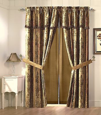 Vintage Stripe Window Curtain Gold, Burgundy Floral Drape Set Valance 2 Panel