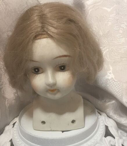 OLD LARGE VINTAGE BISQUE HALF DOLL WITH WIG PIN CUSHION DOLL - $39.95