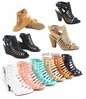 Women's Peep Toe Strappy Caged Chucky Heel Ankle Bootie Sand