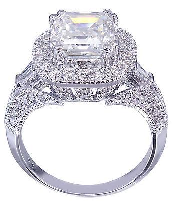 GIA I-VS2 18k White Gold Asscher Cut Diamond Engagement Ring Etoile Deco 2.85ctw 8
