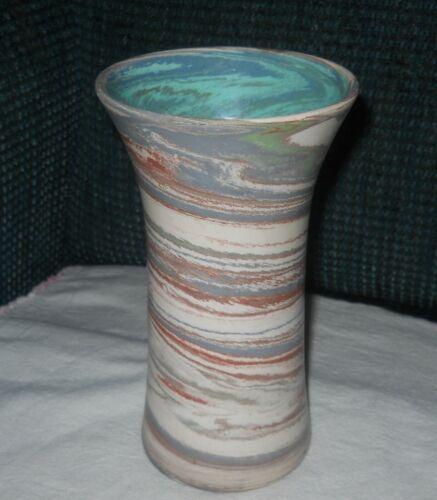 Arts Crafts Desert Sands Swirls Matte Red Blue Mission Swirl Art Pottery Vase