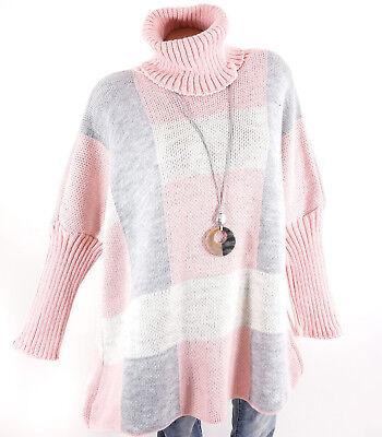 Rollkragen Pullover Damen rosa grau Oversize Long Strickpullover 40 42 44 46 48
