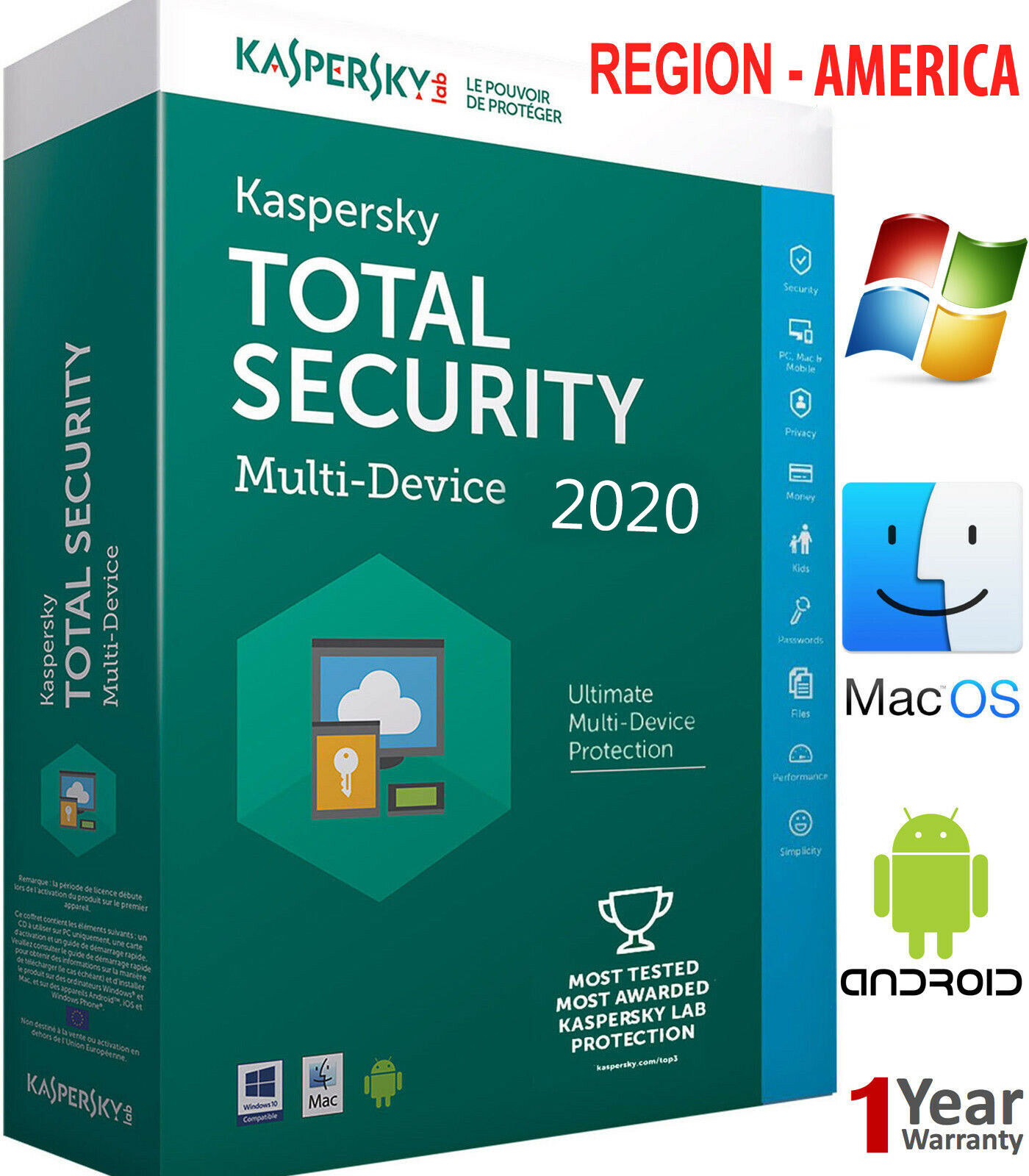 KASPERSKY TOTAL Security 2020 5 PC / 1 Year / 5 Device /Download /FOR - AMERICAS