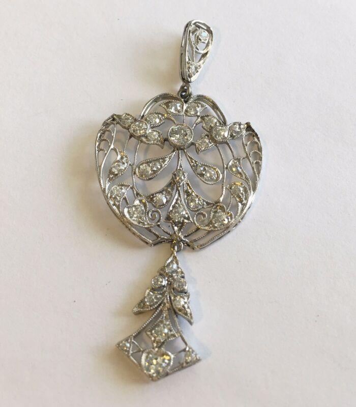 Antique Vintage Art Deco Platinum Diamond Lavalier/Pendant/Drop