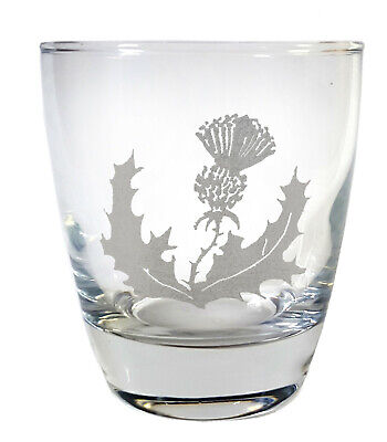 Personalized Rocks Glasses (Scottish Thistle Clear Lowball Rocks Glass 10oz - Free Personalized)