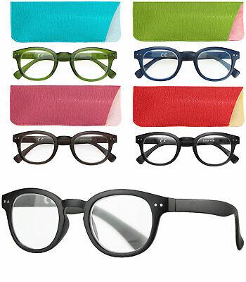 caripe Retro Lesebrille rund Vintage Damen Herren Brille mit Stärke + Etui m2029