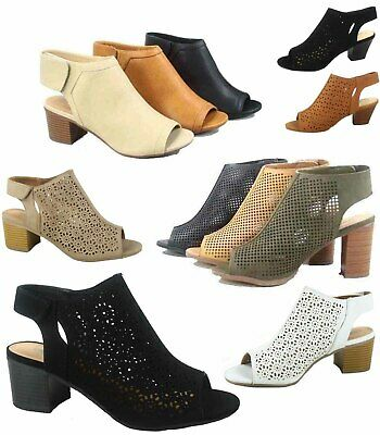 Women's Sexy Peep Toe Perforated Chunky Heel  Sandals Shoes Size 5.5 - 11 NEW ()
