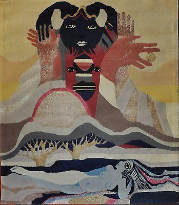 künstlerischer Wandteppich mit figürlichen symbolistischen Darstellungen