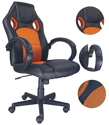 EXECUTIVE ORANGE RACING OFFICE GAMING CHAIR RECLINING SWIVEL LEATHER COMPUTER