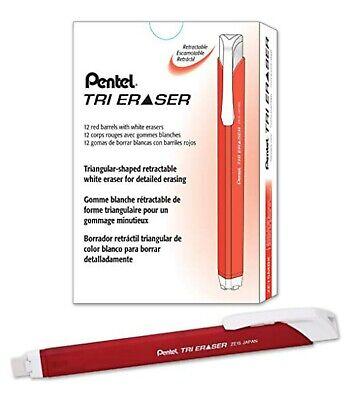 New Pentel Tri Retractable White Eraser Red Barrel 12-pack Box Ze15mb Triangular
