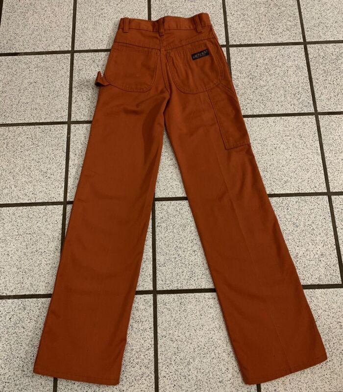 Vintage Boys Carpenter Pants Cargo Straight Leg Orange 1980s Tall 8 Slim