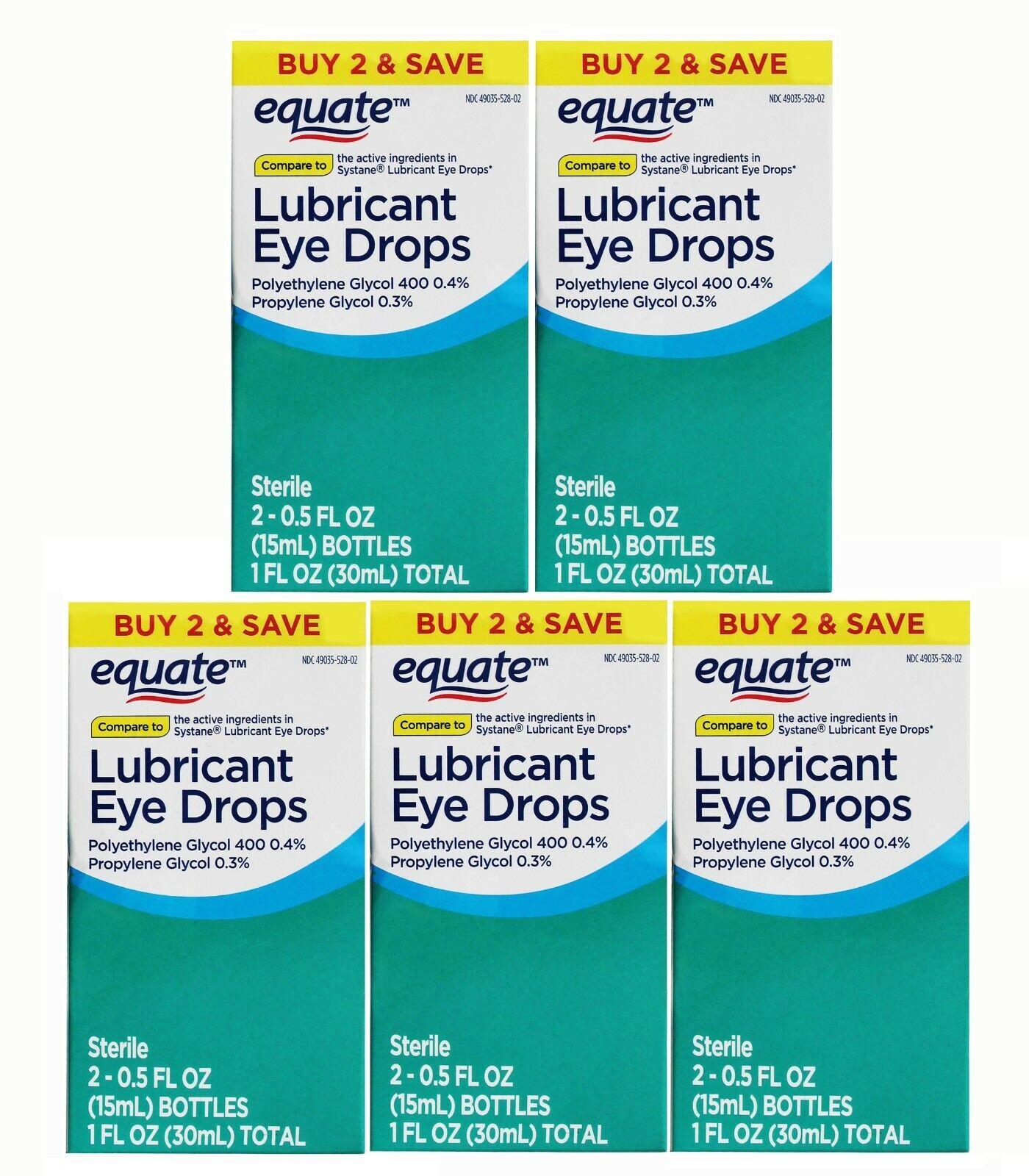 Equate Lubricant Eye Drops, 5 Twin Packs 10 Bottles 0.5 Fl Oz Each EXP 9/2021 - $34.99