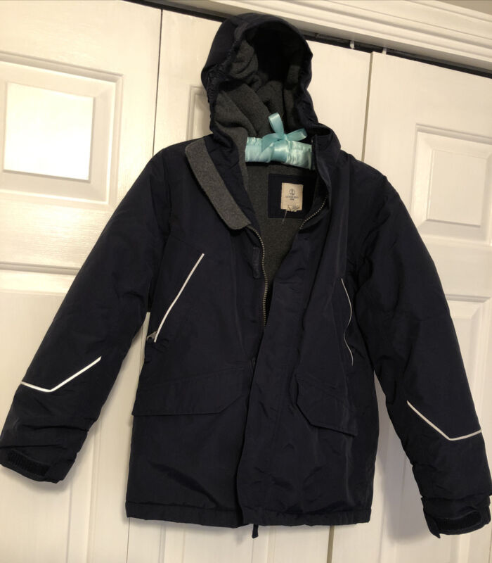 Lands End Boys Squall Jacket Coat Sz Med 10 12 Blue Fleece Lined Uncut Growalong