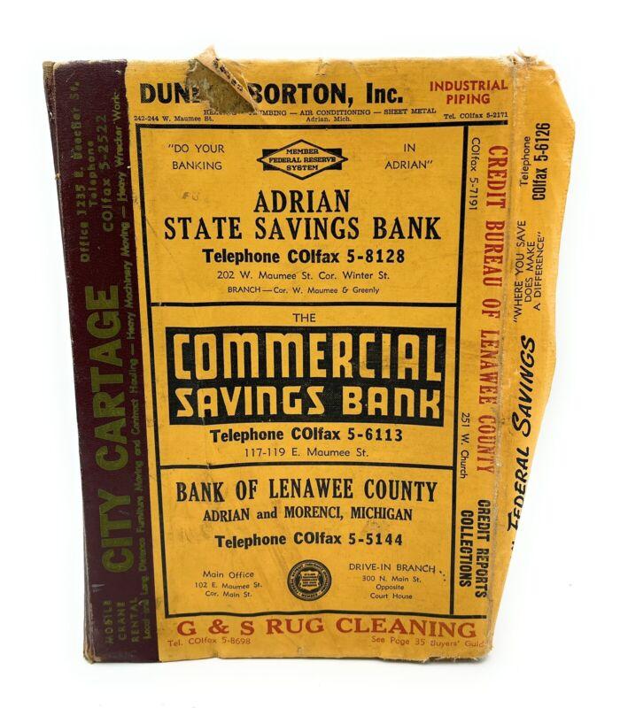 1962 Adrian Michigan City Directory Lenawee County Polk & Co Genealogy Telephone