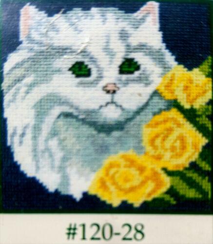 *VINTAGE FLOSS TAPESTRY NEEDLEPOINT* JANLYNN * PERSIAN KITTEN #120-28 *PETIT Kit