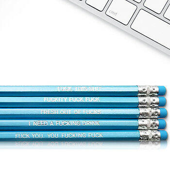 Engraved Pencils (DILLIGAF Swear Word - Inspirational Pencils Engraved With Funny And)