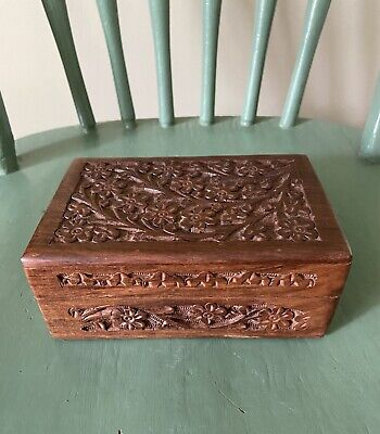 Antique Indian Rosewood Jewelry Box Vintage Jewelry Box Hand Carved Wooden Box Gift for Her Trinket Storage Box Keepsake Box