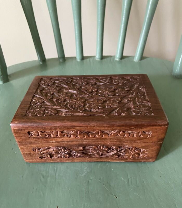 "Tree of Life Hand Carved Rosewood Box 6"" X 4"" X 2 1/2"" Tall"
