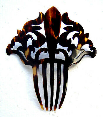 Victorian Wigs, Hair Pieces  | Victorian Hair Jewelry Handsome late Victorian imitation tortoiseshell hair comb $130.00 AT vintagedancer.com