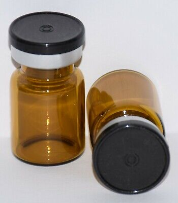 Usp 5 Ml Amber Sterile Vial With Black Plain Flip Top Seal Any Qty
