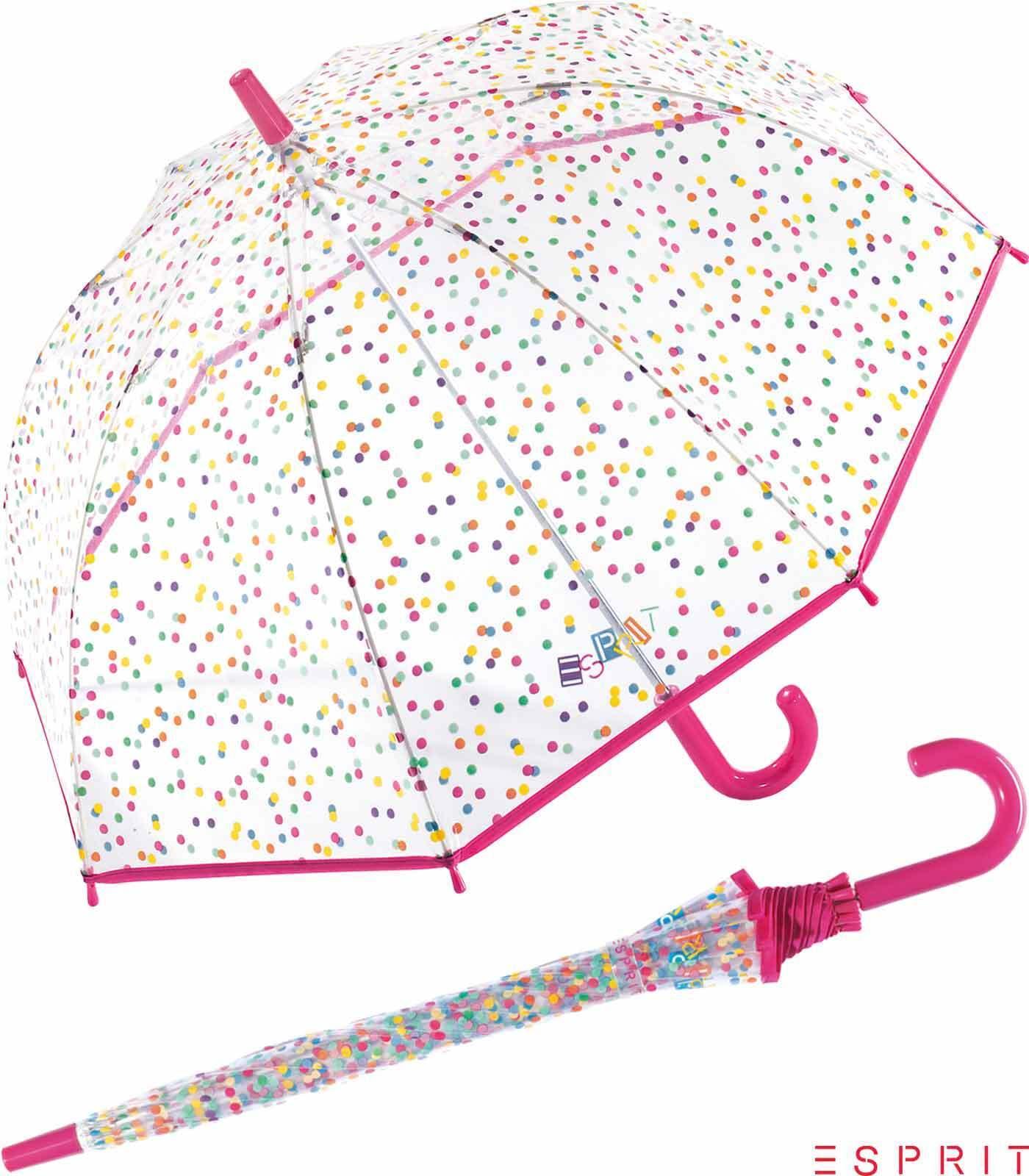 Esprit Kinder Regenschirm Stockschirm leicht stabil transparent colored dots