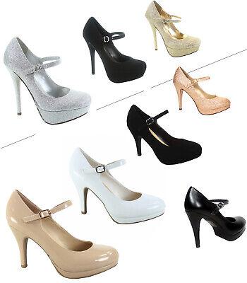 Women's Classic Ankle Strap Round Toe Platform High Heel Pump Shoes Various - Buckle High Heel Pump Shoe