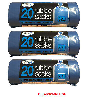 3 X 20 Blue Rubble Industrial Thickness Bags Builders Rubble Sacks 500 Gauge 32L