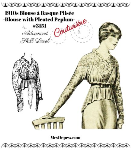 Vintage Sewing Pattern 1910s Ladies