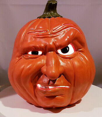 Electric Ceramic Angry Pumpkin 10 Inches Tall. Vintage? Light Up Jack O' Lantern