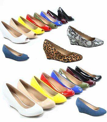 Women's Patent Round Open  Toe Low Wedge Platform Low Heel Shoes Size 5-10 - 5 Heel