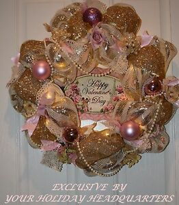 SALE ! Valentine's Day Shabby Chic Led Timer Lighted Deco Mesh Wreath W/Pearls