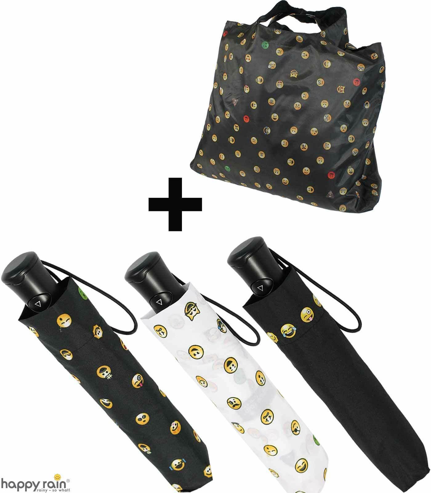 Regenschirm Taschenschirm Einkaufsbeutel Set Emoticon Damen Smiley Emoji