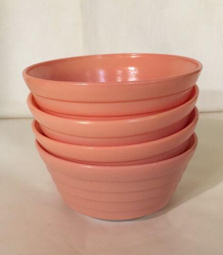"4 Hazel Atlas Pastel Pink Platonite Moderntone 5"" Deep Cereal Bowls"