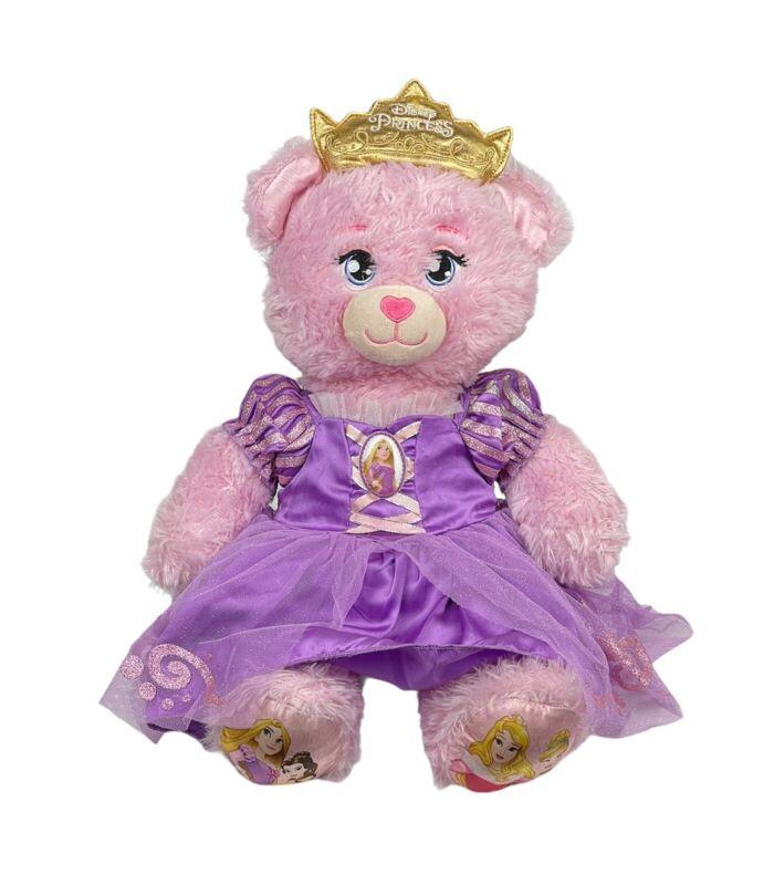Build-A-Bear Disney Rapunzel Pink Sparkle Teddy Bear Plush Light Up Crown Toy