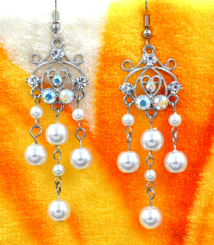 Beautiful new clear white crystal pearl chandelier dangle earrings party gift