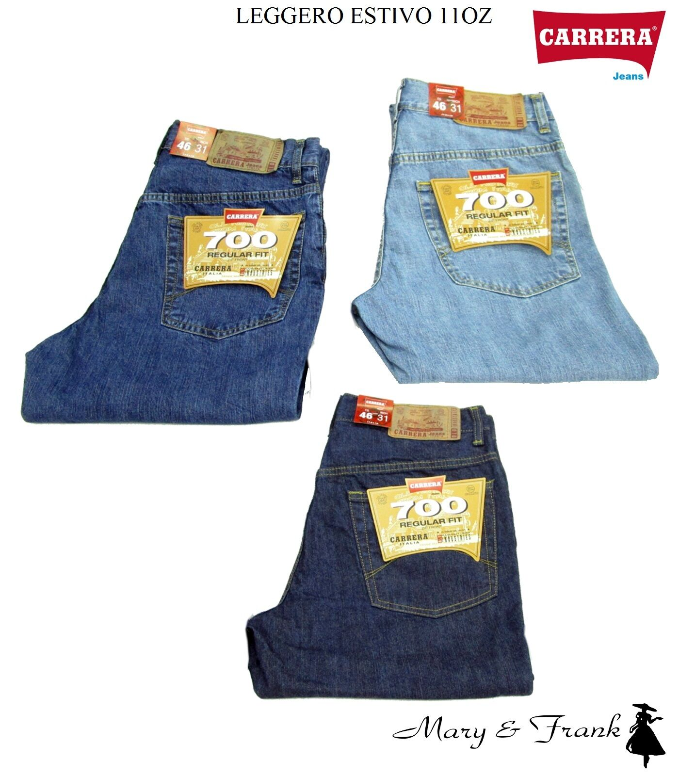 Jeans Uomo Carrera Art. 700 Estivo Leggero Regular Denim Tg. da 46 a 62
