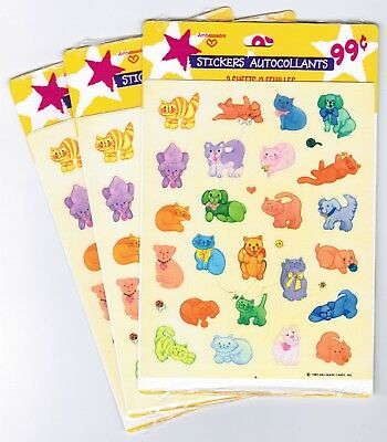 3 NEW Packs Vintage 1985 Hallmark Stickers!  Colorful Animals Cat Dogs 9 Sheets  - Cat Coloring Sheet