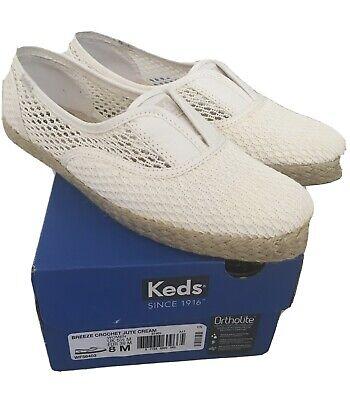 Breeze Crochet Jute Keds Cream Slip On Shoes New 5.5, 5 1/2, 38
