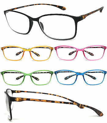1 or 3 Pair Retro Square Colorful Thin Frame Full Lens Reading Glasses (Retro Readers)