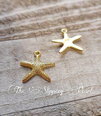 Starfish Charms Pendants Shiny Gold Nautical Charms Ocean Charms 10pcs 20mm