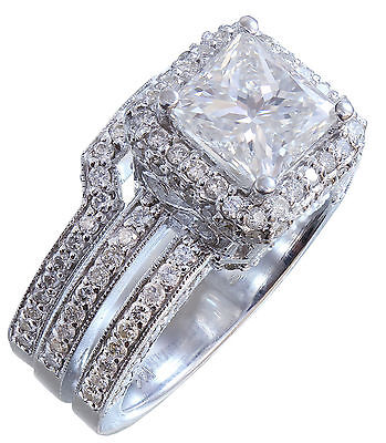 GIA G-VS2 14K white gold princess cut diamond engagement ring and band 2.50ctw 10