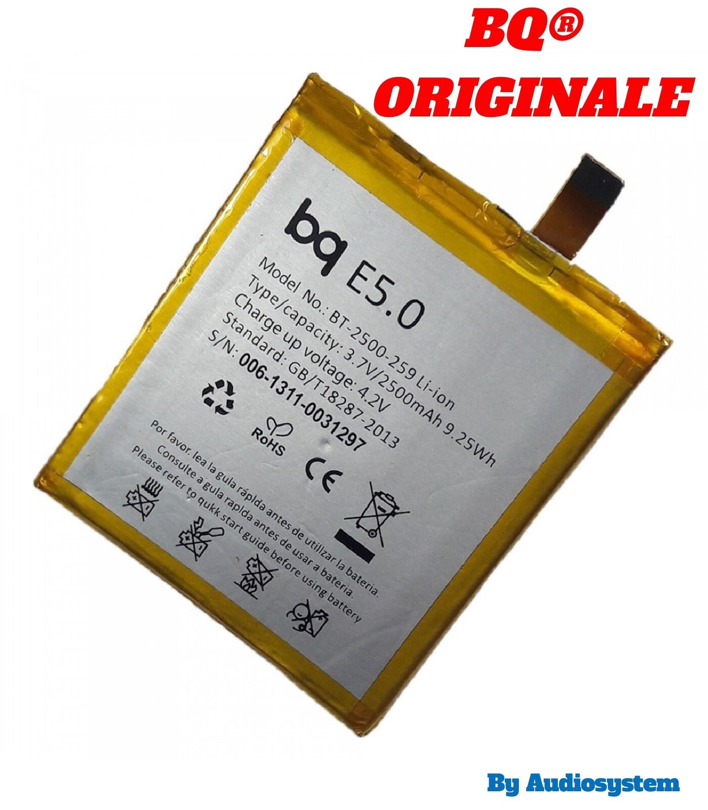 BATTERIA ORIGINALE BQ PER AQUARIS E5 HD B24 GYA1427 2500MAH BT-2500-259 E5.0